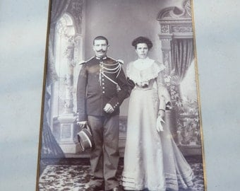 Vintage Antique 1900 cabinet huge photography couple