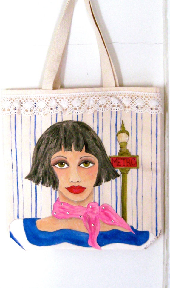 PARIS ANGELIQUE TOTE, hand painted tote,  Audrey Tautou, cotton lace, Paris, gift for Francophile, shopping tote, shoe tote, gift for woman
