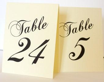 Printable Tented Table Number Cards DIY You print Instant Download Set 40 Wedding Decor Bridal Shower Casual Elegance