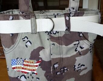 """Handmade Simply Sassy Camo """"God Bless Our Troops"""" handbag"""