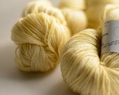 Cornsilk  SW Merino / Tencel yellow fingering weight yarn