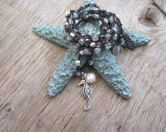 Seahorse and natural pearl crocheted necklace with czech crystals in silver