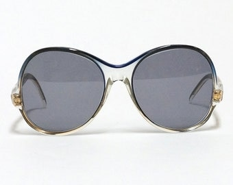 Vintage sunglasses, NINA RICCI, round blue oversized sunglasses, French designer sunglasses in new old stock condition with new lenses.