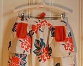 Vintage half apron with hibiscus flower print