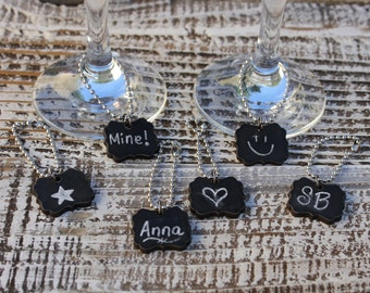 Set of 6 Chalkboard Wine Tags, 6  Chalkboard Wine Markers, Perfect for Wine and Cheese Parties