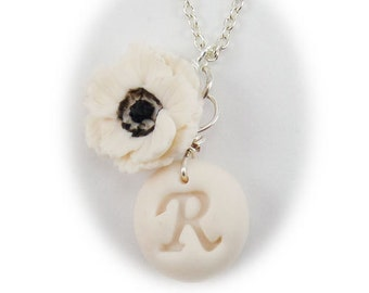 Personalized White Anemone Initial Necklace - Anemone Jewelry, Anemone Flowers