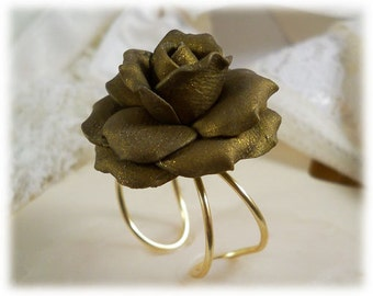 Large Bronze Rose Ring - Bronze Rose Jewelry, Bronze Flower Ring