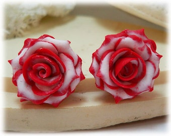 Red Tip White Rose Earrings Stud or Clip On - Double Delight Roses