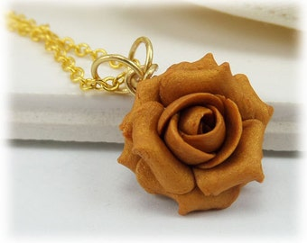 Dainty Gold Rose Necklace - Gold Rose Jewelry, Gold Flower Necklace