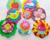 Spring Easter Felt Flower Embellishments with Rhinestones