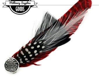 1 - Black / White Guinea & Red Pheasant Feather Brooch - for - Millinery - Fascinators - Hat Pin
