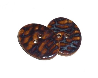 Ceramic Buttons Brown Ripple Pattern 2 Large Shiny Oval Big Pottery Buttons Animal Print Design Sewing Craft Supply Tiger Stripes Beautiful