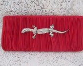 Vintage Red Clutch With A Rhinestone Gecko, Iris Lane, Ships Worldwide