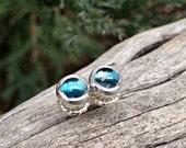 London blue topaz Studs, blue topaz Post Earrings, blue stone earrings, blue studs, 6mm studs, December Birthstone Earrings, sterling silver
