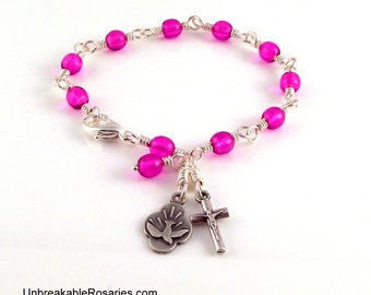 Holy Spirit Rosary Bracelet in Orchid Purple Czech Glass Beads by Unbreakable Rosaries