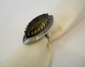 Vintage Silver and Smoky Topaz Ring Mexican Silver Vintage Silver Marquise Cut Topaz Artisan Silver Late 1980s to Early 1990s Size 6 to 6.5