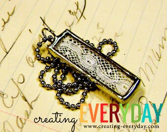 Vintage French Lace Silver Soldered Charm