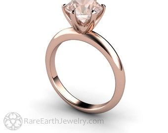 Solitaire Engagement Ring Morganite Ring 6 Prong Solitare in 14K or 18K Gold Unique Engagement Ring