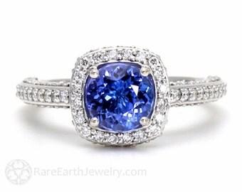 Tanzanite Ring Tanzanite Engagement Ring Diamond Halo 14K Gold or Palladium December Birthstone