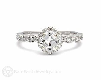 Platinum Asscher Diamond Engagement Ring Diamond Halo Ring Custom Bridal Jewelry