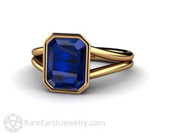 Sapphire Ring Blue Sapphire Engagement Ring Bezel Split Shank Solitaire 14K or 18K Gold Blue Gemstone Ring Wedding Ring