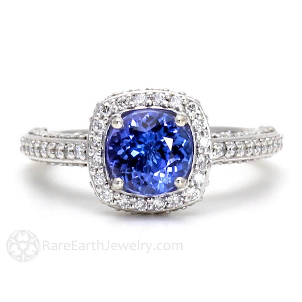 Tanzanite Ring Tanzanite Engagement Ring Diamond Halo 14K Gold