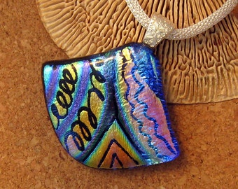 Fused Glass Pendant - Dichroic Pendant - Glass Pendant - Dichroic Jewelry - Hand Etched Pendant