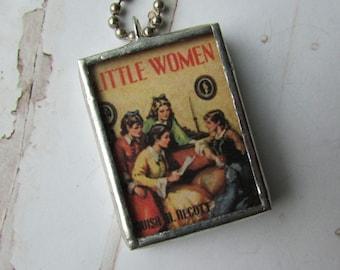 Vintage Little Women book reversible charm necklace