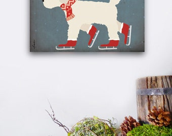 Goldendoodle Labradoodle ice skating graphic art on canvas panel by Stephen Fowler