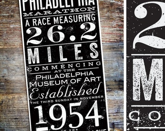 Philadelphia Marathon philly typography artwork by stephen fowler signed giclee print Pick A Size