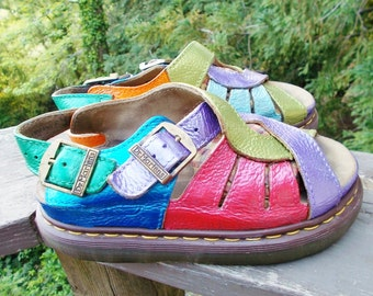Dr Martens , Custom Painted Dr Martens Leather Sandals sz 7 or 7.5 uk 5 mens 6 ladies 7 OOAK and Colorful