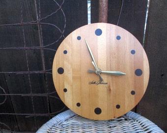 Vintage Wall Clock Butcher block Wood Minimalist wall decor Seth Thomas Home decor Gift round wood clock