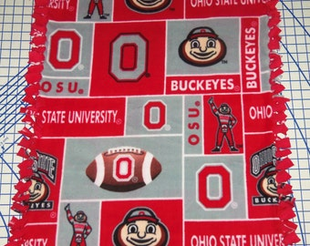 Ohio State Buckeyes Patchwork Fleece Baby  Banket Pet Lap NCAA Red Grey Gray