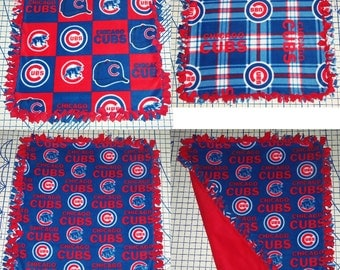 Chicago Cubs Fleece Baby Blanket Hand Tied Pet Lap MLB Baseball Shower Gift Red Blue Security