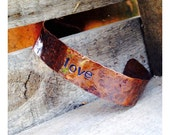 Hammered Copper Love Narrow Cuff