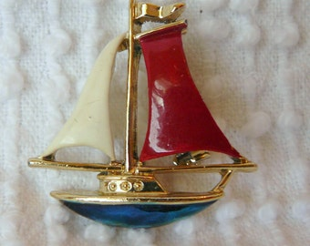 Vintage Gold and Enamel Sailboat Brooch - Red, White and Blue