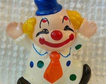 Cute Little Vintage Clown Figurine  -  Happy and Colorful