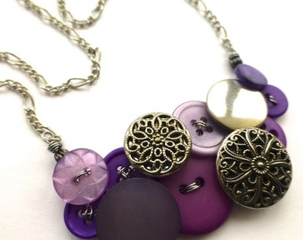 Fancy Button Jewelry Necklace in Purple and Silver Tones