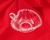 Candlewick Glass Nappy Candy Dish, Heart Shape with Handle, Imperial Glass, Vintage MidCentury Elegant Glassware