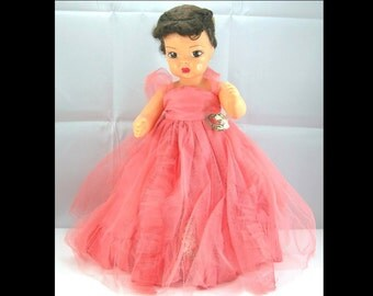 "Vintage 1950s Terri Lee Doll, 16"" Brunette, All Original Coral Net & Taffeta Formal, Silver Shoes, Slip and Panties"