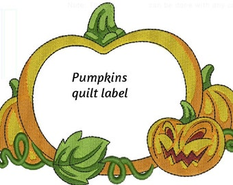 Halloween Pumpkins Quilt label or patch machine embroidered