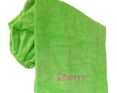 Ladies Shower Wrap in Heavy Terry Velour and Personalized with Embroidery - Many Colors - Name or Monogram