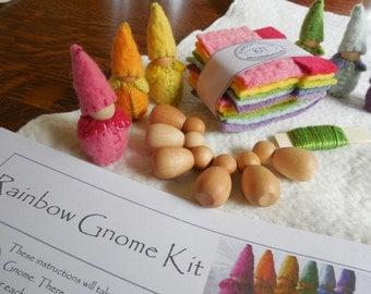 Rainbow Gnome Kit - learn how to make felt peg dolls - instructions, 6 gnome kit handmade toys diy Handmade gift