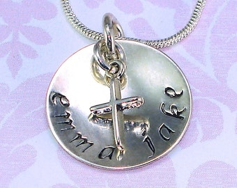 """Religious Faith Jewelry Personalized Hand Stamped Sterling Silver Mothers Necklace 3/4"""" Disk Cross 2 names Mom Grandmother Mommy Bride Charm"""