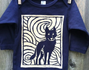 Midnight Wolf Long Sleeve Navy Infant One Piece