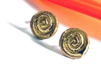 Gold Earring Studs, Yellow Gold Earings, Spiral Earring Posts