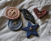 Handmade Salt Dough Primitive Folk Art Bowl Fillers Buttons, Heart, Star, Crow