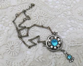 Vintage Turquoise Rhinestone Choker Necklace ...Vintage Clear & Turquoise Rhinestone Pendant Necklace, Brooch, Pin... aqua blue ... SALE
