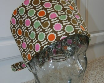 Tie Back Surgical Scrub Hat with Blooming Flowers