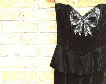 Pretty Little Thang Black Velvet Strapless Dress size 5